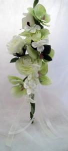 バラ、胡蝶蘭シルク壁掛け¥2,700