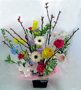 桃の花生花アレンジ¥2,700
