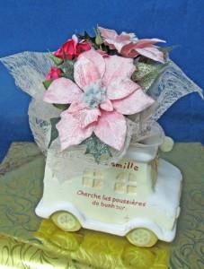 シルクフラワー ミニブーケセット (陶器付き) 10×15×10Cm ¥1500